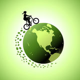 Woman Biking Around The World 1 Stock Photography