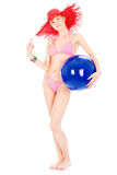 Woman in bikini with ball Royalty Free Stock Image