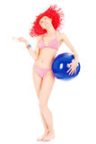 Woman in bikini with ball Royalty Free Stock Images