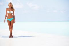 Woman in bikini on beach Stock Images