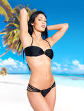 Woman in bikini at beach Royalty Free Stock Image