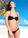Woman in bikini at beach Stock Images