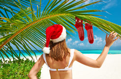 Woman in bikini on a beach at christmas. Woman in bikini on a tropical beach at christmas Royalty Free Stock Photography
