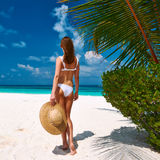 Woman in bikini on a beach at Maldives Royalty Free Stock Images