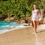 Woman in bikini on beach at Seychelles Royalty Free Stock Images
