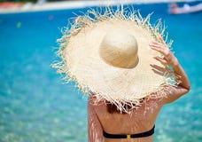 Woman in bikini on beach stock image