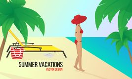 Woman on the beach.Summer vacation.Vacations in tropical countries.Vector illustration. Woman In Bikini On Beach.Travel concept, summer vacation.Vector design vector illustration