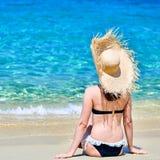 Woman in bikini on beach stock images