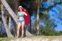 Woman with bikini blue shape sexy symbol sunshine. At the beach Ban Krut Beach, in Prachap Kirikhun Province Thailand is famous for travel stock image