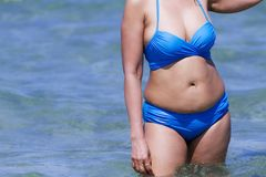 Woman and bikini blue show sexy with swimsute at beach. Ban Krut Beach, in Prachap Kirikhun Province Thailand is famous for travel royalty free stock photos