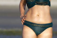 Woman and bikini body sexy on beach at beach. Ban Krut Beach, in Prachap Kirikhun Province Thailand is famous for travel royalty free stock images