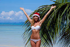 Woman in bikini celebrating Christmas Stock Images