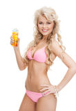 Woman in bikini with cocktail. Woman in bikini with glass of juice or cocktail Royalty Free Stock Photos