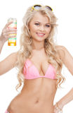 Woman in bikini with cocktail Royalty Free Stock Photography