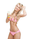 Woman in bikini with cocktail Royalty Free Stock Images
