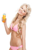 Woman in bikini with cocktail Stock Photography