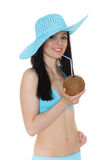 Woman in bikini with coconut. Stock Photos