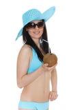 Woman in bikini with coconut. Stock Image