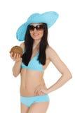 Woman in bikini with coconut. Royalty Free Stock Photos