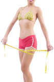 Woman in bikini in diet concept Stock Photo