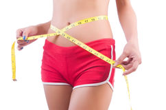 Woman in bikini in diet concept Stock Photos