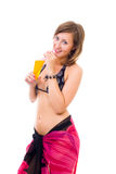 Woman in bikini drink juice Stock Photo