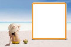 Woman in bikini with empty board 1 Royalty Free Stock Image