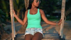 Summer vacation, Travel and LifeStyle concept: Affection bikini girl enjoying breathtaking view sandy tropical beach. Woman in bikini enjoying the breathtaking stock video