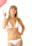 Woman in bikini with heart shaped baloon Stock Image