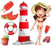 Woman in bikini and other beach things Royalty Free Stock Photography