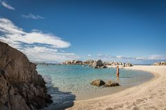 Woman in bikini in sea at Cavallo island near Corsica. Woman in bikini paddling in the translucent Mediterranean sea just off a deserted sandy beach on Cavallo Stock Images