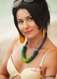 Woman in bikini and pareo at sea background Stock Photos