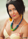 Woman in bikini and pareo at sea background Royalty Free Stock Photos