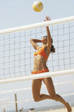 Woman In Bikini Playing Volleyball Stock Photography