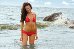 Woman in bikini at sea Royalty Free Stock Photos