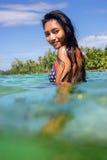 Woman in bikini in the sea Royalty Free Stock Photos