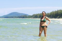 Woman and bikini sexy with daylight on beach. At  Ban Krut Beach, in Prachap Kirikhun Province Thailand is famous for travel stock photos