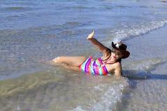 Woman with bikini sexy relax sunshine on beach. At Thung Wua Lan Beach, Chumphon Province Thailand Stock Photo
