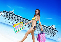 Woman Bikini Shopping Bags Beach Summer Concept.  Royalty Free Stock Images