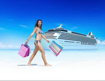Woman Bikini Shopping Bags Beach Summer Concept.  Stock Photo