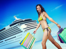 Woman Bikini Shopping Bags Beach Summer Concept.  Stock Images