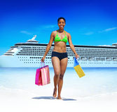 Woman Bikini Shopping Bags Beach Summer Concept.  Stock Image