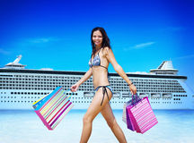 Woman Bikini Shopping Bags Beach Summer Concept.  Royalty Free Stock Photography