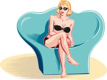 Woman in bikini sitting on a chair. In vector Royalty Free Stock Photos