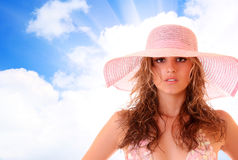 Woman in bikini on the sky background royalty free stock photos