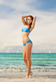 Woman in bikini smiling Royalty Free Stock Images