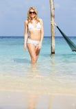 Woman In Bikini Standing In Beautiful Tropical Sea Stock Photos