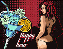 Woman in bikini, stripper with happy hour cocktail vector Royalty Free Stock Image