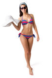 Woman in bikini with a stylish hat Royalty Free Stock Photo