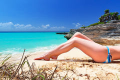 Woman in bikini on summer holidays Stock Photo